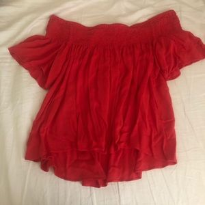 off the shoulder red blouse